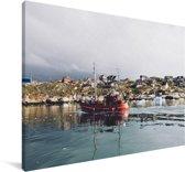 Boot voor IJsfjord van Ilulissat in Groenland Canvas 180x120 cm - Foto print op Canvas schilderij (Wanddecoratie woonkamer / slaapkamer) XXL / Groot formaat!