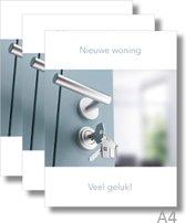 3x Dubbele A4 kaart met envelop - Nieuwe Woning - Formaat: 235 x 310 mm