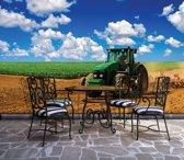 Fotobehang Vlies   Natuur, Tractor   Blauw   368x254cm (bxh)