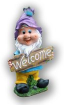 Tuinkabouter met welcome bord en paarse muts