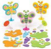 Sets met opspringende vlinders voor kinderen om te maken - Creatieve speelgoedknutselset voor kinderen (6 stuks per verpakking)