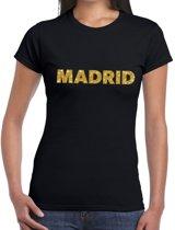 Madrid gouden glitter tekst t-shirt zwart dames M