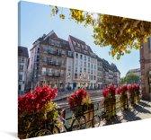 Het stadscentrum van Freiburg in Duitsland Canvas 140x90 cm - Foto print op Canvas schilderij (Wanddecoratie woonkamer / slaapkamer) / Europese steden Canvas Schilderijen