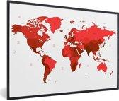 Foto in lijst - Rode wereldkaart op een witte achtergrond fotolijst zwart 60x40 cm - Poster in lijst (Wanddecoratie woonkamer / slaapkamer)