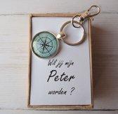 """Cadeaubox kompas sleutelhanger """" Wil jij mijn peter worden ? """" mooi geschenk voor toekomstige peter met een vraagje"""