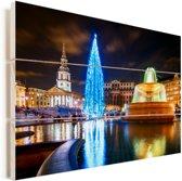 Kerstsfeer bij het Trafalgar Square in Londen Vurenhout met planken 90x60 cm - Foto print op Hout (Wanddecoratie)