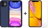 iPhone 11 Hoesje Blauw - Siliconen Case - 1 x Tempered Glass Screenprotector