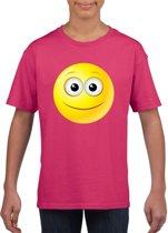Smiley/ emoticon t-shirt vrolijk roze kinderen L (146-152)