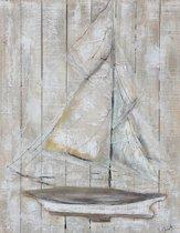 Olieverfschilderij op hout - Zeilboot