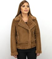 Z-design Bikerjack Dames Suede – Lammy Coat – Bruin - Maat: XL