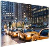 Taxi stand in New York City Glas 90x60 cm - Foto print op Glas (Plexiglas wanddecoratie)