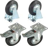 Set van 4 Transportwielen 125mm | 2 x zwenkwiel met Rem / 2 x bokwiel | 125-37,5/50 | Stalen Velg | Rubberen Band | Draagvermogen per wiel 100kg | Bevestigingsplaat 100x80mm | Bouwhoogte 155mm