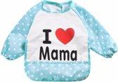 Mouwslab I Love Mama blauw