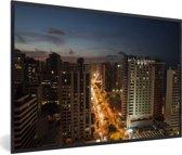 Foto in lijst - De stedelijke horizon van Fortaleza in Brazilië fotolijst zwart 60x40 cm - Poster in lijst (Wanddecoratie woonkamer / slaapkamer)