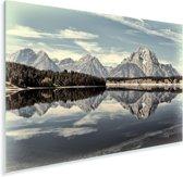 Weerspiegeling van het Tetongebergte in het stille water Plexiglas 90x60 cm - Foto print op Glas (Plexiglas wanddecoratie)
