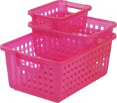 IRIS Baskets Opbergmand-4.5l+11.6l+25l-Kunststof-Roze-3 stuks