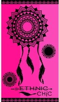 Luxe badlaken/strandlaken grote handdoek 100 x 175 cm Ibiza/mandala print Ethnic Pink