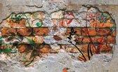 Fotobehang Papier Graffiti   Oranje   254x184cm