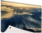 Himalaya zonsopkomst Tuinposter 200x100 cm - Tuindoek / Buitencanvas / Schilderijen voor buiten (tuin decoratie) XXL / Groot formaat!