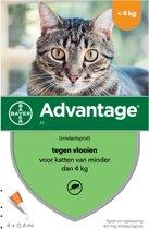Advantage 40 Tegen Vlooien - <4kg - 4 x 0,4 ml - Adult