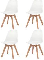 Eetkamerstoelen Wit 4 STUKS Kunstleer / Eetkamer stoelen / Extra stoelen voor huiskamer / Bezoekersstoelen