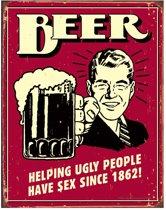 Metalen Retro Bord Beer Ugly People