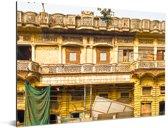 Prachtig geel gekleurde gebouwen in Oud Delhi Aluminium 40x30 cm - klein - Foto print op Aluminium (metaal wanddecoratie)