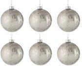 Doos Van 6 Kerstballen Glas Blinkend/Mat Antiek Zilver Small