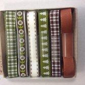 Ribbon 6 stuks x 1 meter, 10 mm breed groen