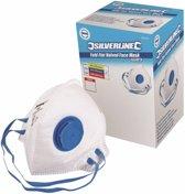 Silverline Plat Vouwbaar FFP2 stofmasker met ventiel, enkel gebruik displaydoos, 25 Stuks FFP2, enkel gebruik