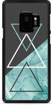 Galaxy S9 Hardcase Hoesje Turquoise Marble Art