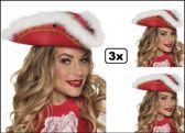 3x Hoed Dansmarieke rood/wit