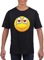 Smiley/ emoticon t-shirt verliefd  zwart kinderen L (146-152)