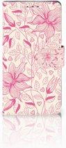 Sony Xperia XZ1 Boekhoesje Pink Flowers