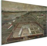 De handelsloge van de VOC in Hougly in Bengalen - Schilderij van Hendrik van Schuylenburgh Plexiglas 180x120 cm - Foto print op Glas (Plexiglas wanddecoratie) XXL / Groot formaat!