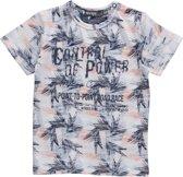 Dirkje Jongens Shirt Wit met Grijs Peach print  - Maat 98