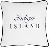 Sierkussen 45x45 cm - Indigo Island Amsterdam - ''Indigo embleem''- wit, blauw met piping - Dons