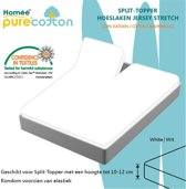 Homéé - Splittopper Hoeslaken Jersey Katoen - Wit - 180 x 200/210/220 + 10cm