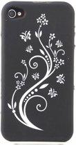 Zacht rubberen zwarte backcase met witte bloemen voor iPhone 4 en 4S