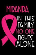 MIRANDA In This Family No One Fights Alone: Personalized Name Notebook/Journal Gift For Women Fighting Breast Cancer. Cancer Survivor / Fighter Gift f
