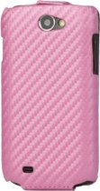 Carbon Fiber Lederen Hoesje HTC One X Pink (Flip Type)