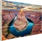 Horseshoe Bend Grand Canyon  Hout 30x20 cm - klein - Foto print op Hout (Wanddecoratie)
