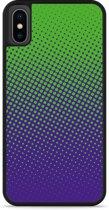 iPhone Xs Hardcase hoesje lime paarse cirkels
