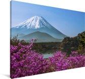 Kleurrijke foto van de berg Fuji in Azië Canvas 60x40 cm - Foto print op Canvas schilderij (Wanddecoratie woonkamer / slaapkamer)