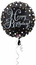 Helium Ballon Happy Birthday Zwart Glitter 43cm leeg