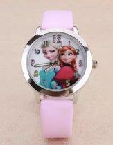 Meisjes horloge roze met Frozen afbeelding Elsa en Anna met leer bandje