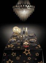 36 stuks: Tafelkleed VIP - Sterren - Zwart-Goud - 130x180cm