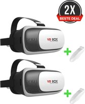 2x VR BOX VR Bril + 2 x Bluetooth Remote Control - (Wit/zwart)