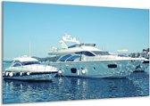 Glas schilderij Boot, Water | Blauw, Grijs, Wit | 120x70cm 1Luik | Foto print op Glas |  F007197