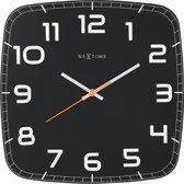 NeXtime Classy Square - Klok -  Stil Uurwerk - Vierkant - Glas - 30,5x30,5 cm - Zwart